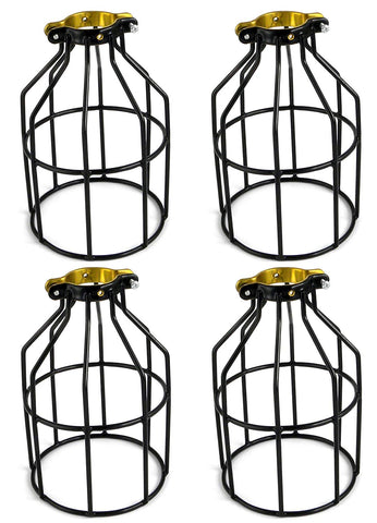 Metal Lamp Guard for Pendant String Lights and Vintage Lamp Holders, Industrial Wire Iron Bird Cage, 4-Pack