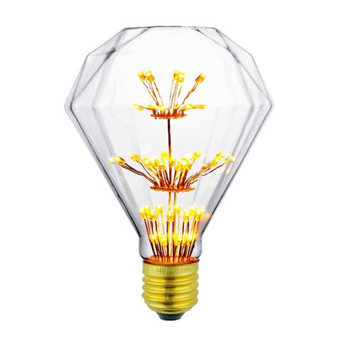 LED Fireworks Edison Diamond Filament Light Bulb 3W - Judy Lighting