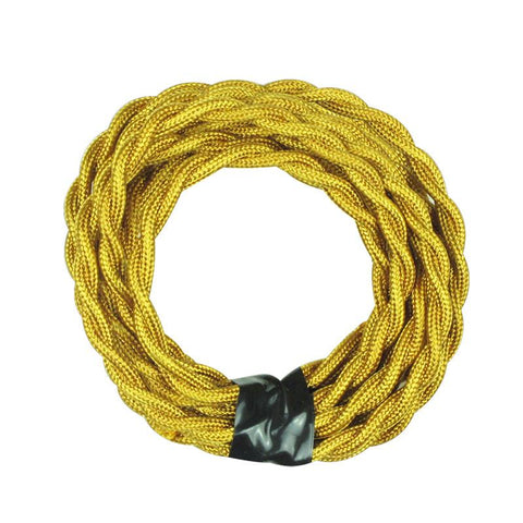 Gold Yellow Twisted Cloth Lighting Flex Cables