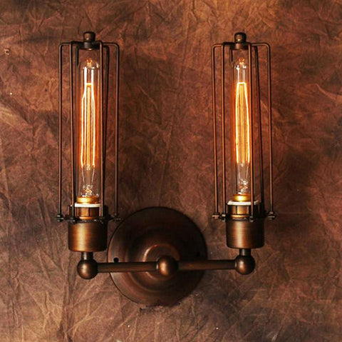 2 Light Retro Wall Lamp Rusty Painted with Long Metal Cage Bronze