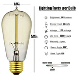 ST58 VINTAGE EDISON BULB - 60 WATT - DIMMABLE 4 PACK Standard Based