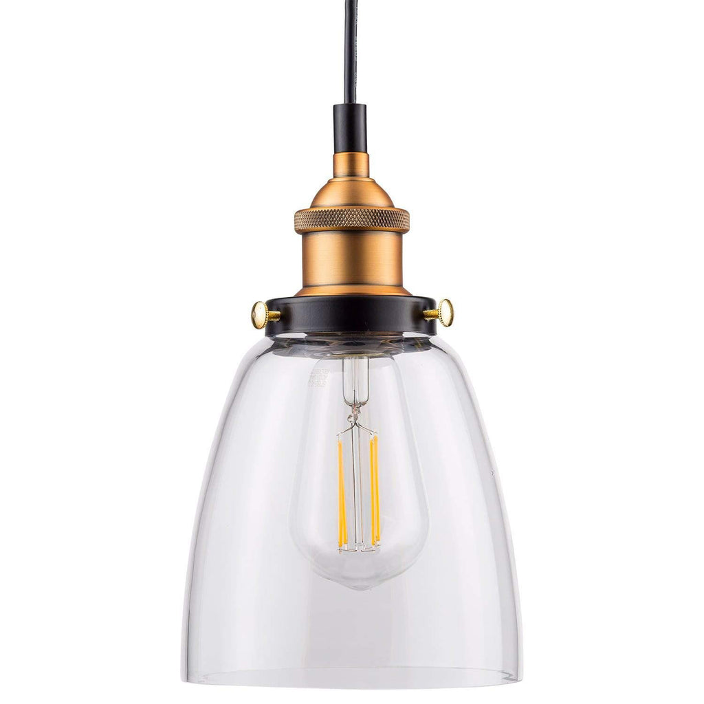 Fiorentino LED Brushed Bronze Pendant Light – Clear Glass Shade
