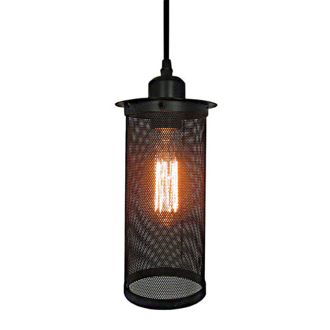 Elegant Vintage Pendant with Net Cage Black Shade - Judy Lighting