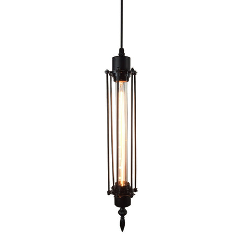 Industrial Long Upright Pendant Light with Black Squirrel Cage