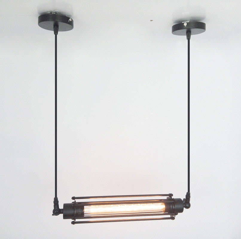 Industrial Long Horizontal Metal Pendant Light with Squirrel Cage Shade