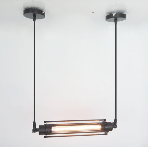 Industrial Long Horizontal Metal Pendant Light with Squirrel Cage Shade - Judy Lighting