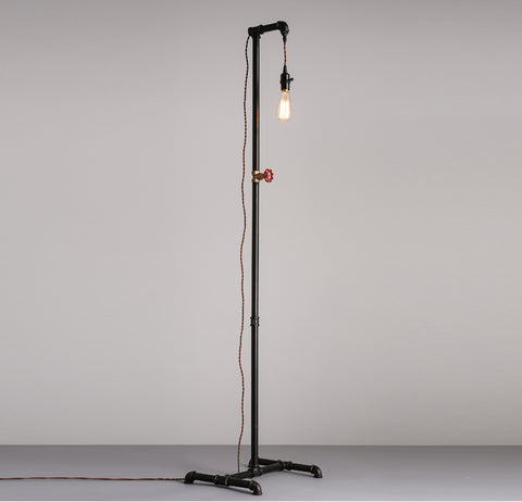 Industrial Steampunk Pipe Plug-in Floor Lamp