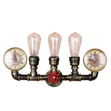 Steampunk 4 Light Wall Lamp, Industrial Style Bare Edison bulb Lighting