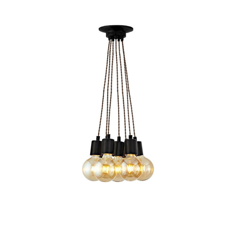 Brooklyn 7 Light Vintage Pendant Light Cluster (Black)