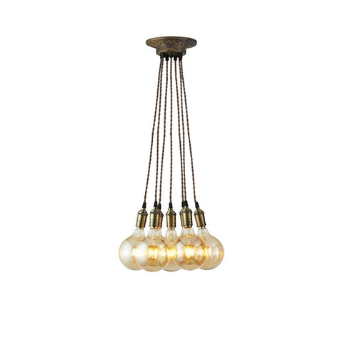 Brooklyn 7 Light Vintage Pendant Light Cluster (Brass)