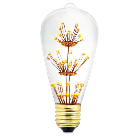 LED Fireworks Classic Edison Light Bulb 3W ST64MTX - Judy Lighting