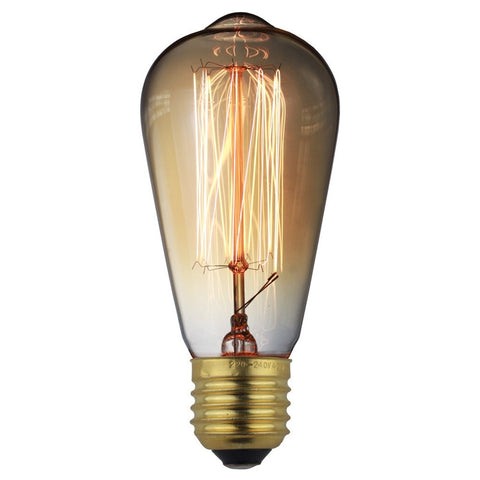 Classic Vintage Edison Filament Bulb Dimmable Amber Squirrel Cage Incandescent - 60W E26 E27 ST64 - Judy Lighting