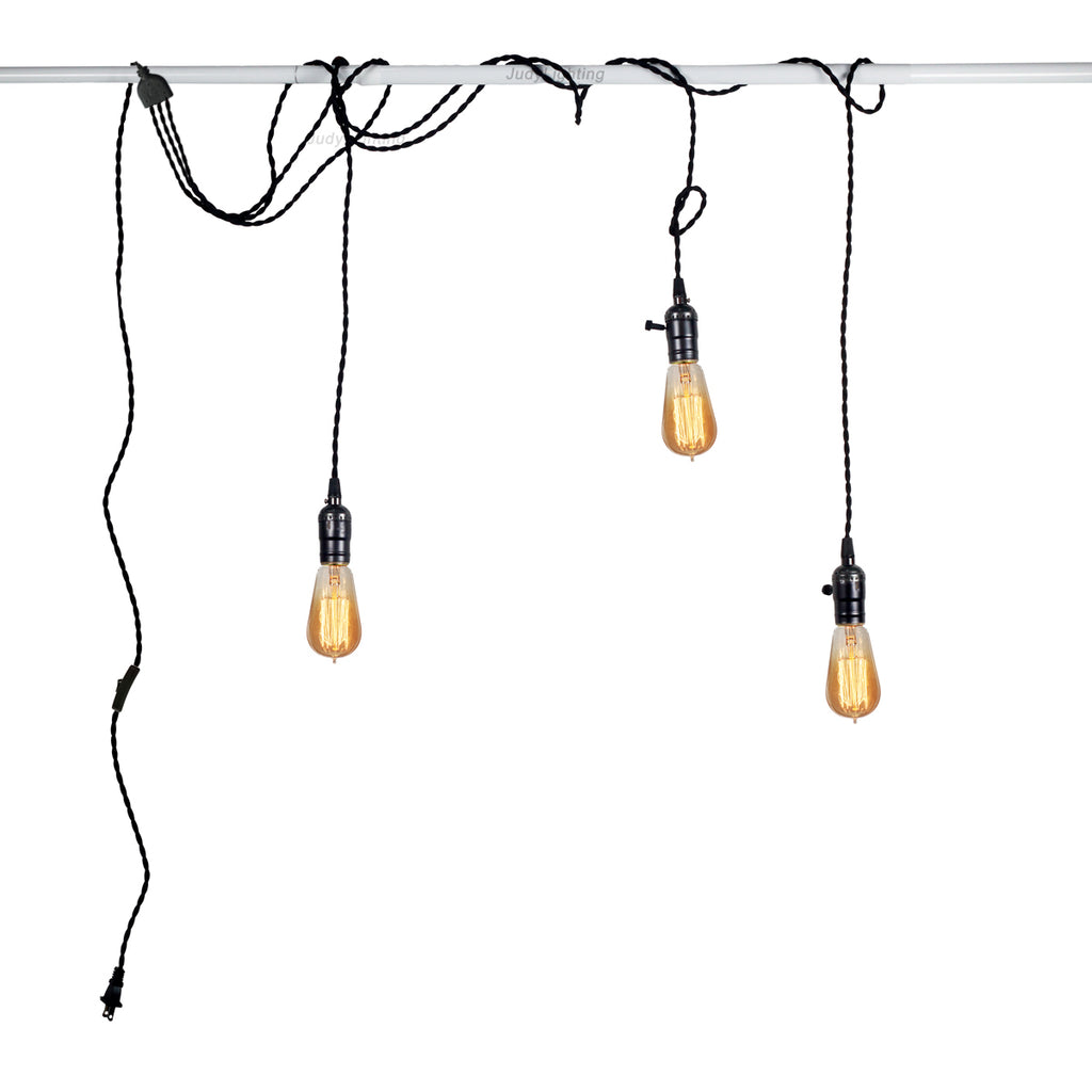 Fika Series 3 Light Plug-In Cord Kit Vintage Swag Light