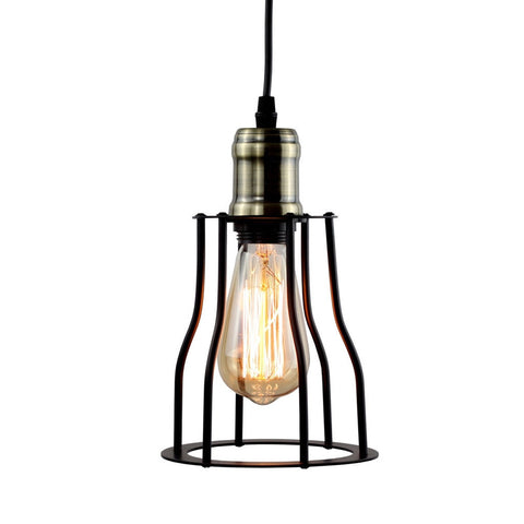 Minimalist Pendant Light with Black Metal Cage