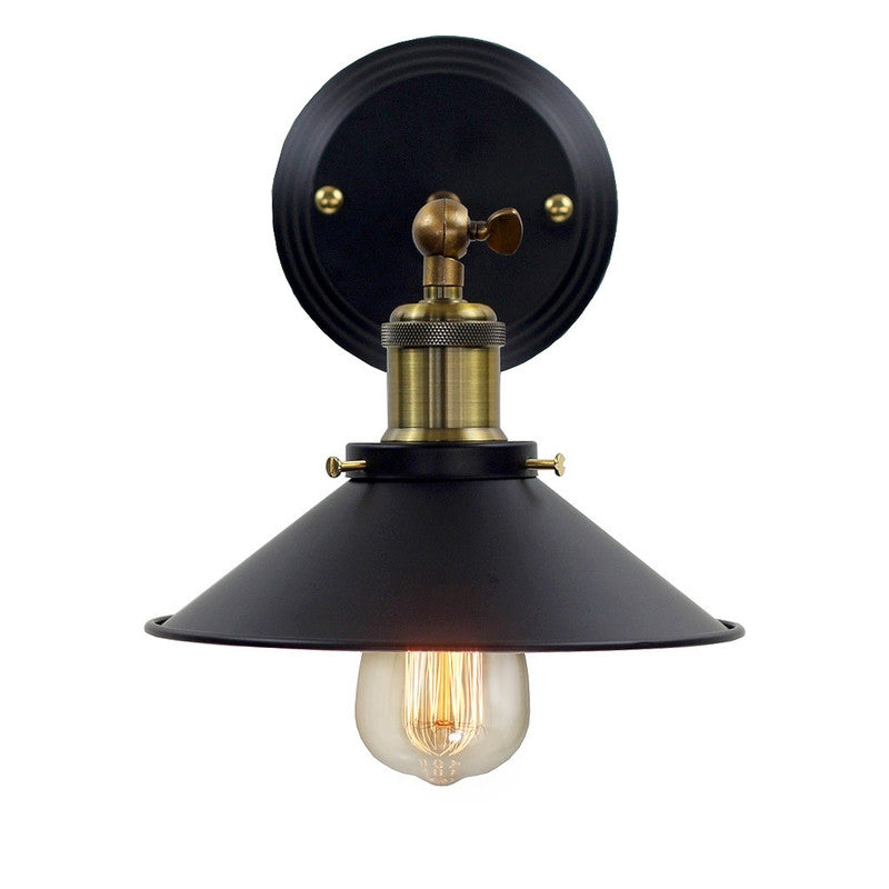 Brooklyn Vintage Antique Metal Sconce Wall Light with Black Lamp Shade