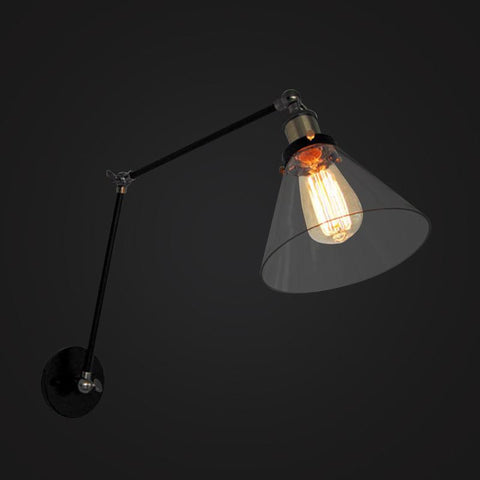 Swing Arm Glass Cone Wall Sconces