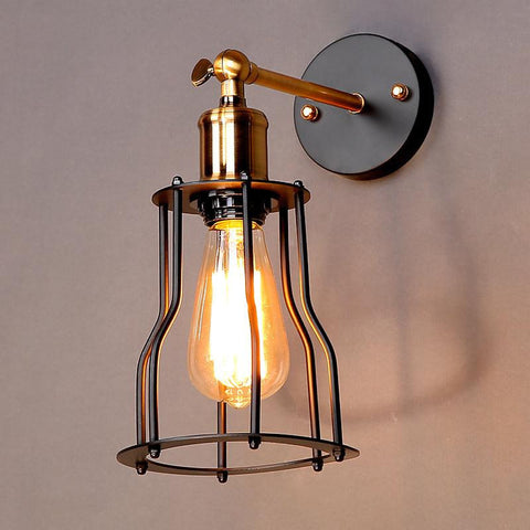 MINIMALIST Wall Lamp WITH BLACK METAL CAGE - Judy Lighting