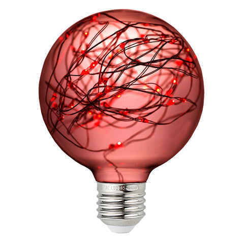 Colored Vintage Edison LED Fairy String Light Bulb - Red