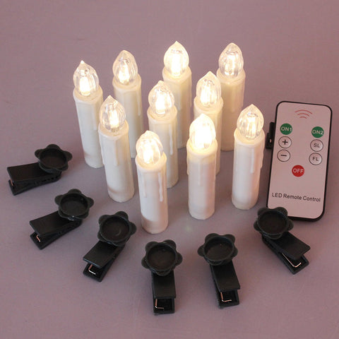 Christmas LED Flameless Taper Ivory Candles with Remote and Removable Clips, Set of 10