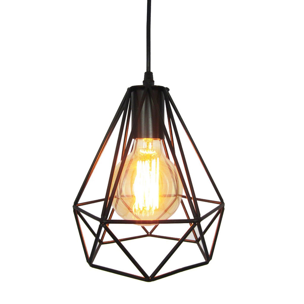 Geometric Style Diamond Black Wrought Iron Metal Pendant Light