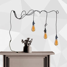 Fika Series 3 Light Plug-In Pendant Cord Kit Vintage Swag Light