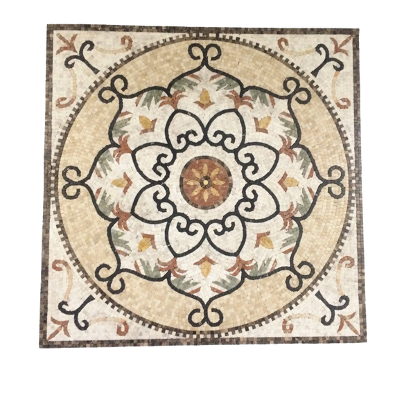 Marble Mosaic Stone Medallion Square Shape Floor Medallion Art Decoration Tile 36