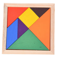 Seven-Piece Colorful Wood Tangram