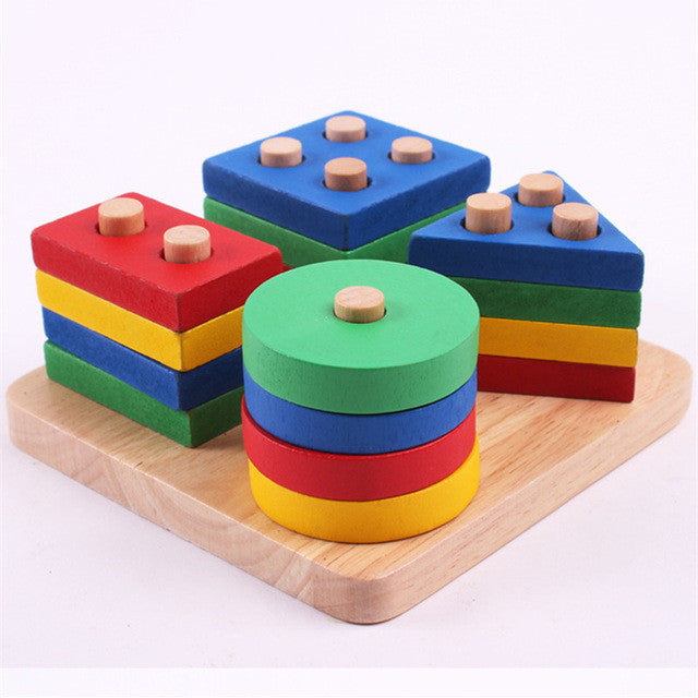 Wooden Geometric Assemble Blocks with Guided Post Board