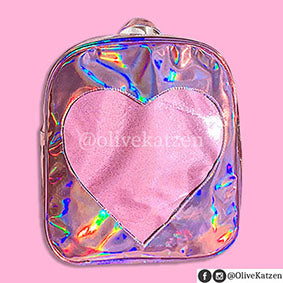 "Heart and Star Window Holo Backpacks ""Ita Bag"" (痛バッグ)"