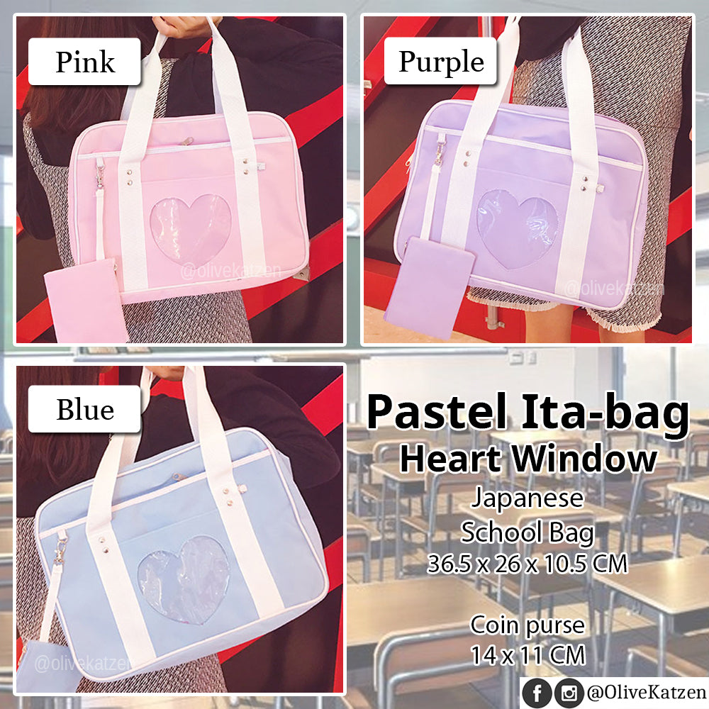 "Pastel Heart Pocket Japanese School Bag ""Ita Bag"" (痛バッグ)"