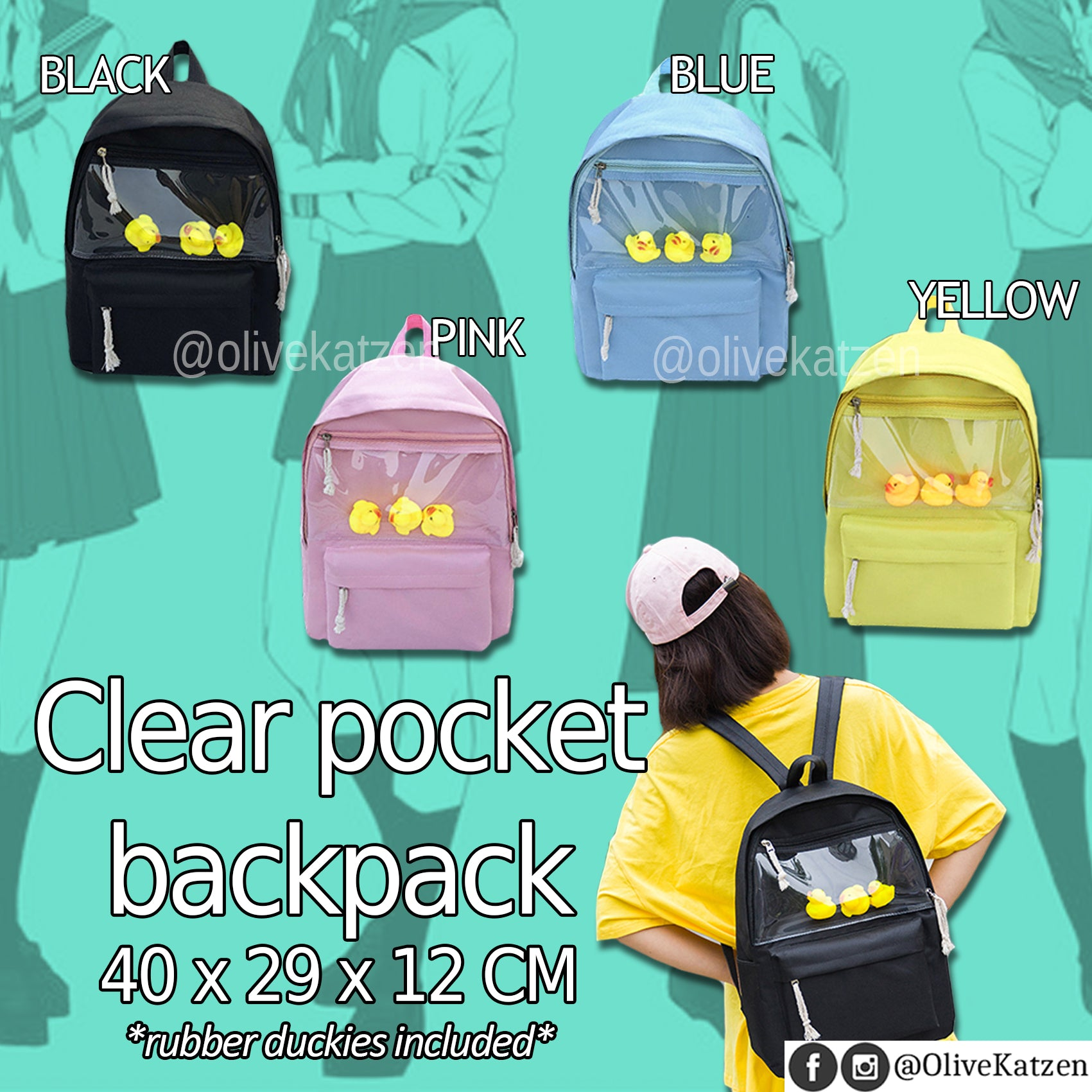 "Clear Pocket Backpack ""Ita Bag"" (痛バッグ)"