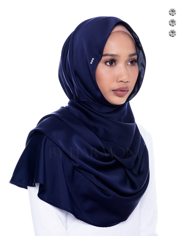 Mawar Semi-Instant Shawl In Navy