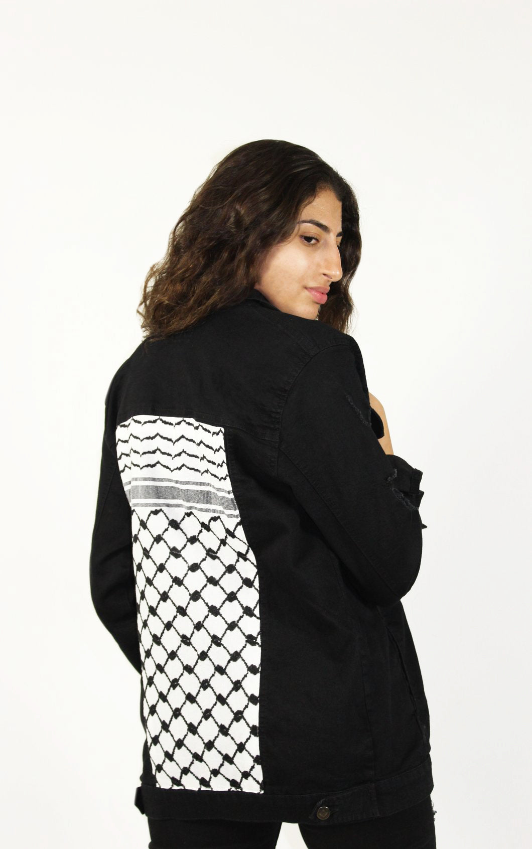 Distressed Keffiyeh Denim Jacket
