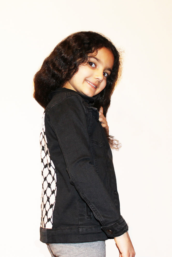 Kids Keffiyeh Denim Jacket