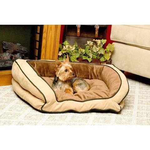"K&H Pet Products Bolster Couch Small Mocha and Tan 21"" x 30"" x 7"" - KH7311"