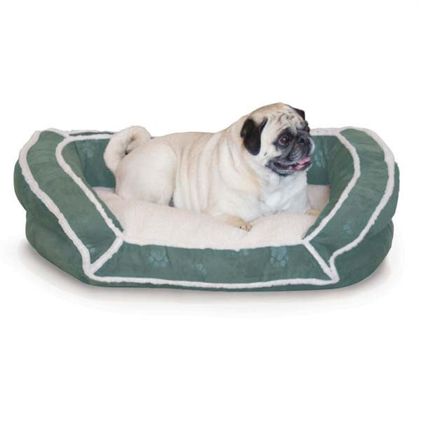 "K&H Pet Products Deluxe Bolster Couch Small Green Paw 21"" x 30"" x 7"" – KH7316"