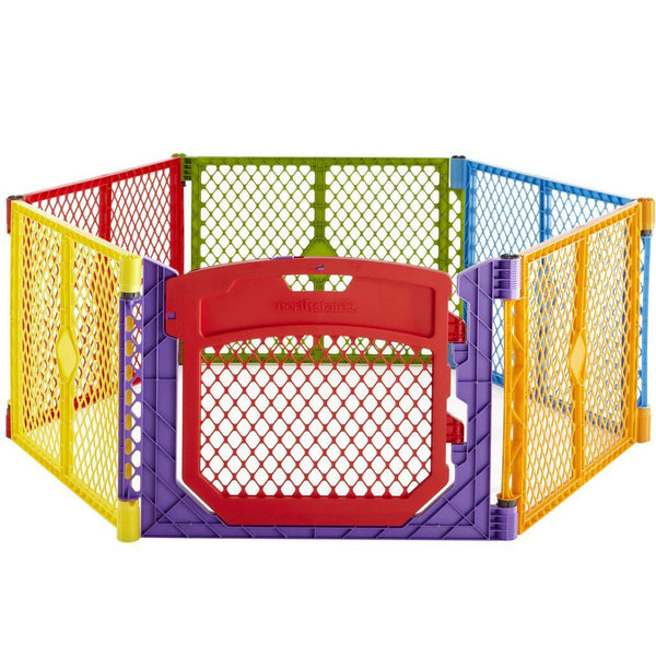 "North States Superyard Colorplay Ultimate Freestanding 6 Panel Playpen Multi-Color 30"" x 26"" - NS8750"