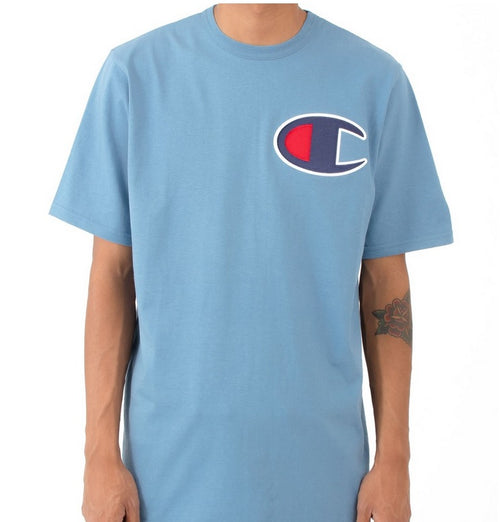Champion Script Tee with Big C Logo (Light Blue) - Men - DistriSneaks