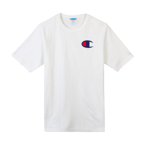 Champion Script Tee with C Logo (White) (Blue/Red Wordings) - Men - DistriSneaks