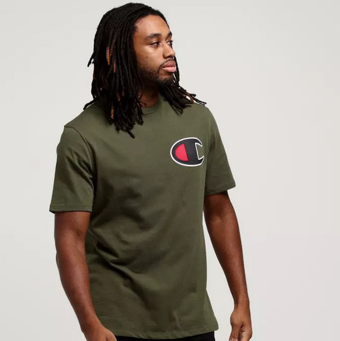 22f8f781 Champion Script Tee with Big C Logo (Olive Green) - Men - DistriSneaks