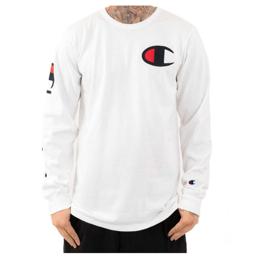 Champion Long Sleeve with Side Wordings (White) - DistriSneaks