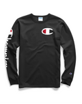 Champion Script Long Sleeve Black T-Shirt with Champion Wordings at Side - DistriSneaks