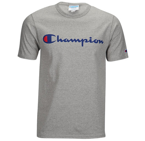 Champion Script Tee (Grey) (Blue/Red Wording) - Men - DistriSneaks