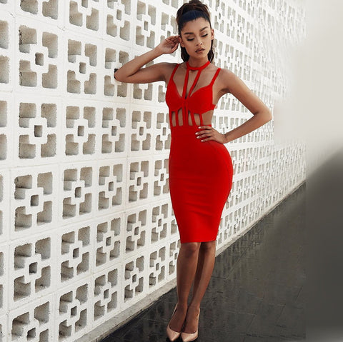 Hollow Spaghetti Straps Red Bandage Dress