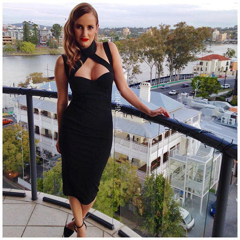 Cross High Neck Black Pencil Dresses