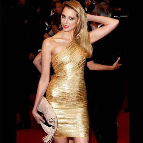 Gold One-shoulder Bandage Dress