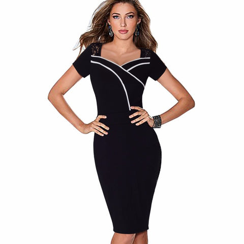 Black Pencil Dresses Lace Short Sleeves