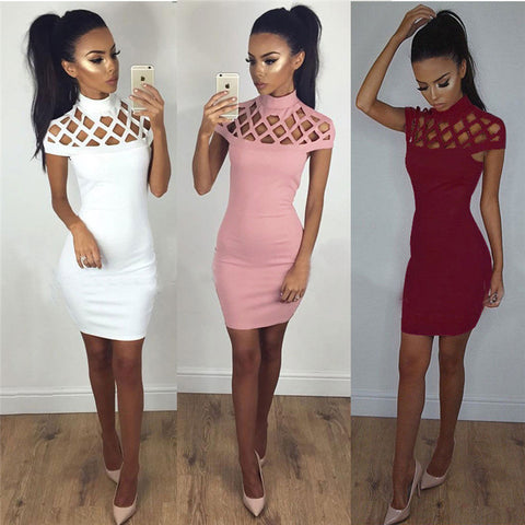 Hollow Grid Sexy White Bandage Dresses With Sleeves