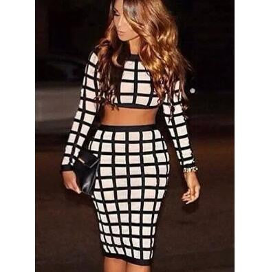 Grid Long Sleeves Bandage Dress Set