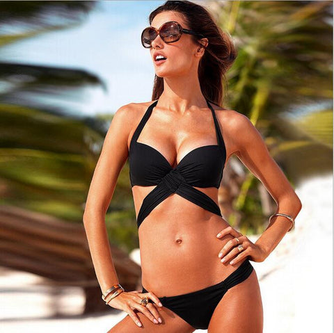 Beach Swimwear Black Bandage Bikini